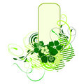 Green banner with flowers Stock Image