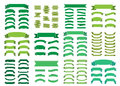 Green banners big set Beautiful blank decoration ribbons