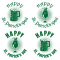 Green banners set with beer for St. Patricks Day