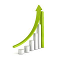 Green bar chart business growth with rising up arrow sccess concept d render illustration Stock Photos
