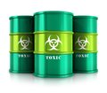 Green barrels with toxic substances creative abstract poisonous and dangerous materials disposal and utilization industry concept Royalty Free Stock Photo