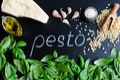 Green basil pesto ingredients