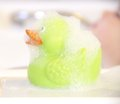 Green bath duck in soap foam Royalty Free Stock Photos