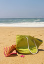 Green beach bag Royalty Free Stock Photo