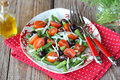 Green bean salad with tomatoes Royalty Free Stock Images