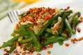 Green beans with cashew Royalty Free Stock Images