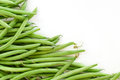 Green beans, corner background, isolated on white, copy space