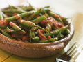 Green Beans with a Tomato Salsa Stock Images
