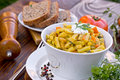 Green beans yellow beans healthy meal in white bowl Royalty Free Stock Images