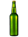 Green beer bottle with water drop isolated clipping path Royalty Free Stock Photos