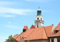 Green belfry of church in prachatice with clocks st james the greater czech republic Stock Images