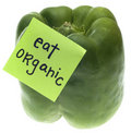 Green Bell Pepper with Eat Organic Message Stock Images