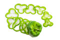 Green bell pepper sliced rings on a light background Royalty Free Stock Photo