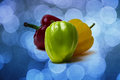 Green bell pepper textured sweet still life of peppers peppers are of red yellow and color one color is leading and bright Stock Image