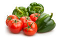 Green bell pepper and tomato Royalty Free Stock Photo