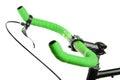 Green bicycle handlebar Royalty Free Stock Photo