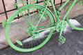 Green bicycle parked old vintage details parts Stock Photography