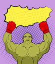 Green big Boxer Monster pop art with an empty bubble text. Gobli Royalty Free Stock Photo