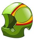 Green Biker Racing Helmet. Royalty Free Stock Photo