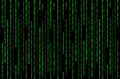 Green Binary Matrix on Black Background Royalty Free Stock Photo