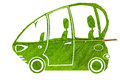 Green bio car concept ecological electric funny made from leaf collage isolated Stock Photography
