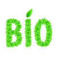 Green bio text made of leaves ecology concept Stock Photo
