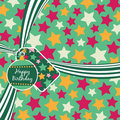 Green birthday ribbon Stock Photo