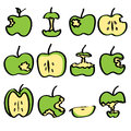 Green bitten apple noodle drawing Stock Image