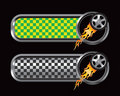 Green and black checkered tabs with flaming tire Royalty Free Stock Photography