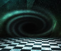 Green and black hole abstract stage background Stock Photography