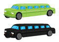 Green black limousine car vehicle cartoon vector illustration Stock Photo