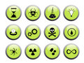 Green and Black Science Buttons Royalty Free Stock Photos