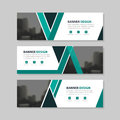 Green black triangle abstract corporate business banner template, horizontal advertising business banner layout template