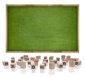 Green blank blackboard with wooden frame and block Royalty Free Stock Photo