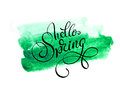 Green blob on a white background and text Hello Spring. Calligraphy lettering Royalty Free Stock Photo