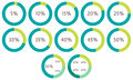 5 10 15 20 25 30 35 40 45 50 percent pie charts. Vector percentage infographics. Circle diagrams isolated