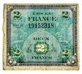 Two Francs issued in France 1944 series vintage bill Front Royalty Free Stock Photo