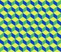 Green blue contour abstract geometrical cubes seamless pattern background Royalty Free Stock Photo