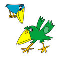 Green and blue crows Stock Photography