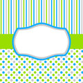 Green blue invitation card with polka dots and stripes Royalty Free Stock Photo