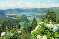 Green and blue lakes azores amazing view of twin in sete cidades calm peaceful landscape of volcanic island of são miguel Royalty Free Stock Image