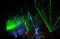 Green blue laser show bright at night with audience Royalty Free Stock Photos