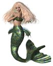 Green and blue mermaid pretty blonde with fish scales d digitally rendered illustration Stock Photos