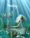 Green and blue mermaid underwater pretty blonde with fish scales lying on a rock in an scene d digitally rendered illustration Royalty Free Stock Photos