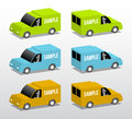 Green blue and orange vans colored cartoon d illustration with place for your text Stock Image