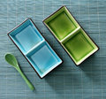 Green blue plates set spoon Royalty Free Stock Photo