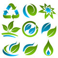 Green and Blue Recycling Eco Icons Stock Images