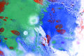 Green and blue spots on the paper with red drops Royalty Free Stock Photo