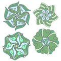 Green and blue ornament collection over white background Royalty Free Stock Photo