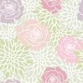 Green Blush Pink Rose Floral Seamless Pattern